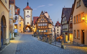 Picture lights, street, tower, home, the evening, Germany, arch, Fachwerk, Rothenburg
