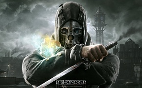 Picture mask, dagger, Dishonored, Bethesda, bodyguard, Corvo