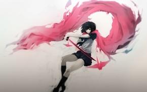 Picture girl, weapons, katana, anime, scarf, art, schoolgirl, hombre, ninja slayer, yamoto koki