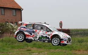Picture Grass, House, Jump, Peugeot, Rally, 208, T16