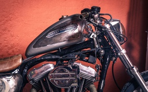 Picture vintage, Harley-Davidson, motorcycle, chopper