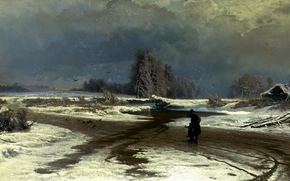 Picture road, the sky, water, clouds, snow, birds, house, people, picture, painting, figure, the bushes, child, ...