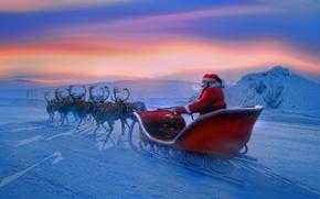 Picture winter, new year, new year, Santa Claus, deer, Santa Claus