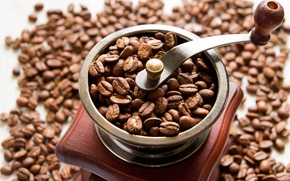 Picture coffee, grain, coffee grinder