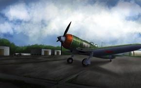 Picture the sky, grass, war, fighter, hangar, Art, the airfield, Shop, Soviet, piston, single-engine, La 5FN, …