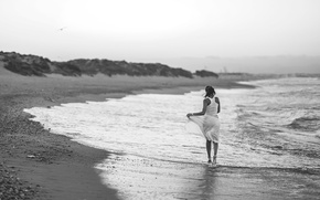 Picture girl, shore, surf