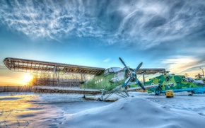 Picture winter, the sky, the plane, HDR