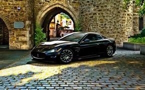 Picture castle, black, Maserati, pavers, GranTurismo
