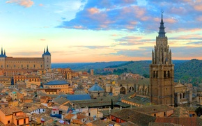 Picture the sky, clouds, sunset, castle, tower, home, Spain, Toledo