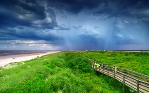 Picture sand, sea, beach, grass, clouds, bridge, people