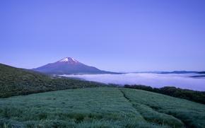 Wallpaper the sky, fog, mountain, the evening, the volcano, Japan, blue, Honshu, Fuji