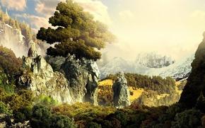 Wallpaper temple, 3D fantasy, mountains