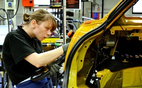 Picture woman, vehicle, worker, assembly line