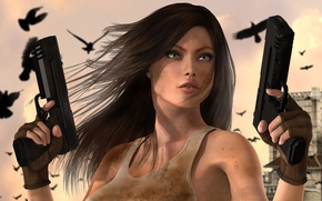 Picture girl, weapons, guns, art, crows