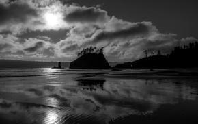 Picture sea, sunset, shore, Beach, hill, black and white