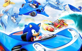 Picture machine, the plane, wave, boat, Sonic, Professor, Sonic, Eggman, Sonic & All-Stars Racing Transformed, Doctor …