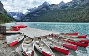 Picture mountains, Marina, Canada, Albert, Alberta, Lake Louise, Canada, Canoeing, Lake Louise