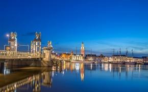 Picture bridge, lights, ships, pier, Netherlands, Holland, Overaasen, Kampen, Kampen