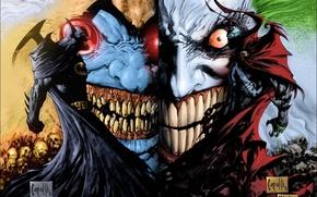 Picture batman, Joker, clown, spawn