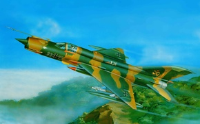 Picture the plane, fighter, art, USSR, MiG, BBC, countries, OKB, multipurpose, Soviet, The MiG-21, used, armed, …