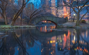 Picture lights, New York, twilight, Central Park