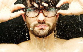 Wallpaper water, drops, face, photo, Wallpaper, pictures, glasses, guy, wallpapers