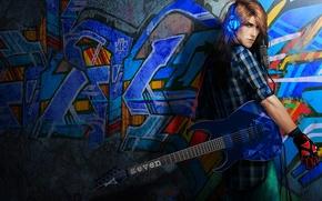 Picture wall, guitar, headphones, guy, musician, Rock 'n' roll