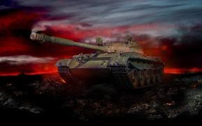 Picture night, art, tank, glow, battlefield, Soviet, average, World of Tanks, THE T-62A