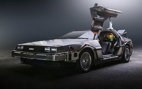 Picture background, the door, Back to the future, The DeLorean, DeLorean, DMC-12, the front, Back to …