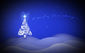 Wallpaper blue, background, mood, holiday, Wallpaper, graphics, tree, picture, noguy year, New Year
