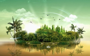 Picture water, clouds, trees, palm trees, island, birds swans