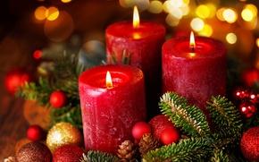 Wallpaper balls, branches, glare, balls, candles, Christmas, New year, bumps, bokeh
