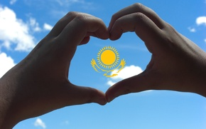Picture the sky, the sun, eagle, heart, hands, flag, Kazakhstan, made it myself (=