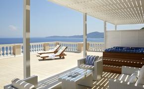 Picture sea, view, villa, luxury, terrace, jacuzzi