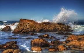 Picture sea, stones, wave