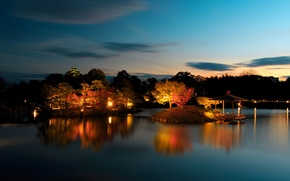 Picture trees, night, lights, pond, Park, Japan, garden, gazebo, Okayama