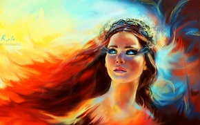 Picture eyes, look, girl, face, eyelashes, fire, makeup, art, Phoenix