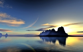 Picture water, clouds, landscape, sunset, lake, reflection, rocks, planet, art, lightdrop