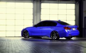 Picture BMW, wheels, blue, 335i, vossen, f30, rearside