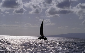 Picture sea, the way, boat, sail