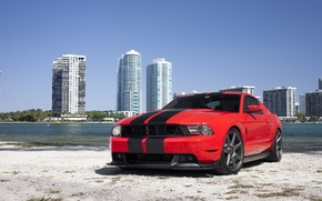 Picture mustang, red, ford, beach, miami