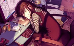 Picture music, sleep, girl, schoolgirl, lessons player
