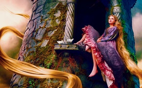 Picture tower, moss, window, pigeons, singer, Rapunzel, Taylor Swift, sitting, long hair