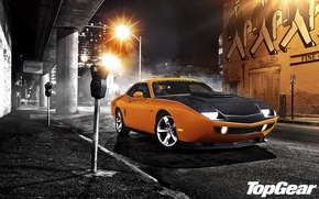 Picture night, orange, street, tuning, lantern, Top Gear, Dodge, Challenger, muscle car, tuning, the front, the …