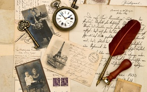 Picture pen, watch, key, Sepia, photos, vintage, vintage, old paper, letters, stamp