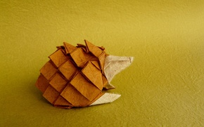 Wallpaper paper, background, hedgehog, origami