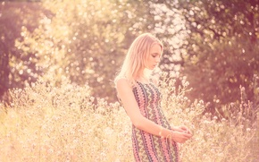 Picture nature, pose, Girl, dress, blonde