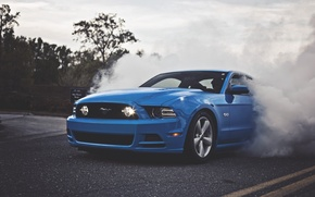 Picture Mustang, Ford, Blue, 5.0, Smoke, Muscle Car