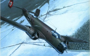 Picture ice, war, art, army, painting, cold, drawing, ww2, dogfight, german aircraft, aviation art, junker ju …