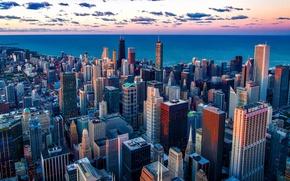 Picture the sky, clouds, the city, lake, dawn, coast, home, skyscrapers, horizon, Chicago, Michigan, USA, Il, ...